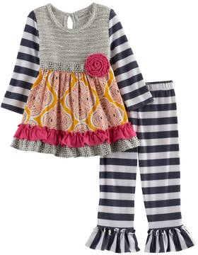 Rare Editions Baby Girl Knit Embellished Top & Striped Leggings Set