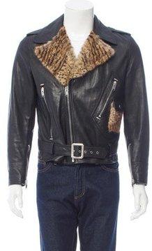 Saint Laurent Fur-Trimmed Biker Jacket