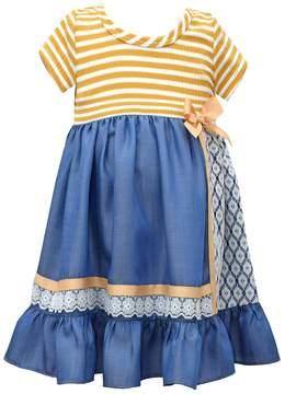 Bonnie Jean Girls 4-6x Red Stripe Chambray Dress