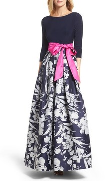 Eliza J Women's Floral Jacquard Gown