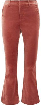 Frame Cropped Cotton-blend Velvet Flared Pants - Brick