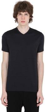 Jil Sander V Neck Mercerized Cotton T-Shirt