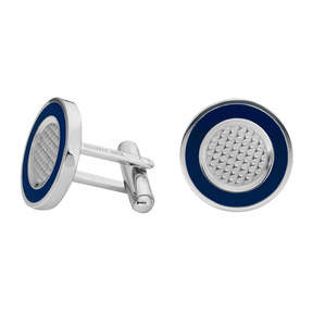 Asstd National Brand Round Stainless Steel Cuff Links with Enamel Border