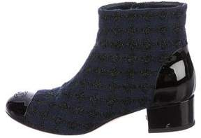 Chanel 2016 Tweed Cap-Toe Booties