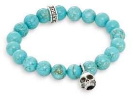 King Baby Studio Turquoise & Sterling Silver Beaded Skull Charm Bracelet