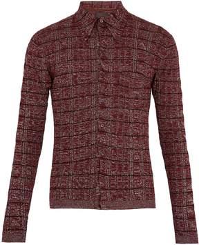 Prada Striped-knit wool-blend shirt