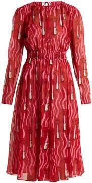 Valentino Lipstick-print silk-georgette dress