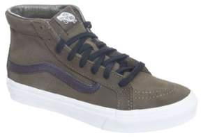 Vans Sk8-Hi Slim Cutout Perforated Suede Tarmac / True White High-Top Skateboarding Shoe - 10M 8.5M