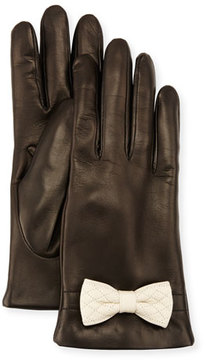 Portolano Leather Bow-Cuff Gloves, Black/White
