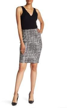 Atelier Luxe Grid Ponte Slim Skirt