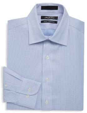 Saks Fifth Avenue BLACK Slim-Fit Two-Tone Cotton Dress Shirt