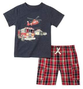 Kids Headquarters Little Boy's Two-Piece Firetruck Tee and Plaid Shorts Set