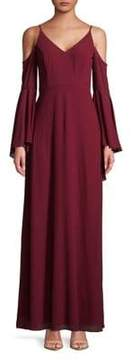 Betsy & Adam Cold-Shoulder Chiffon Gown