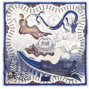 Aspinal of London | Murder On The Orient Express Silk Scarf In Midnight Blue 35 X 35 | Midnight blue pure silk