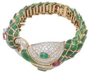 David Webb 18K Yellow Gold & Platinum Emerald, Ruby & Diamond Enamel Snake Bracelet