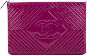 One Kings Lane Vintage Chanel Large Magenta Patent Clutch - Vintage Lux