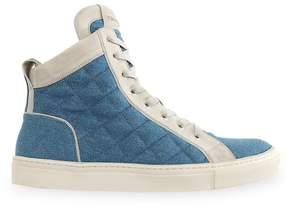 Balmain Men's Quilted Denim & Suede Hi-Top Sneakers