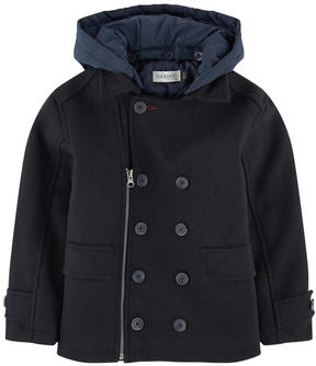 Jean Bourget Wool blend reefer jacket with a removable hood