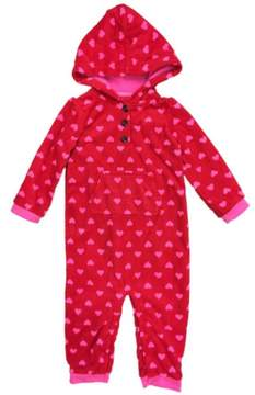 Carter's Infant Girls Red Fleece Dot Hooded Jumpsuit Coverall Baby Outfit 24m