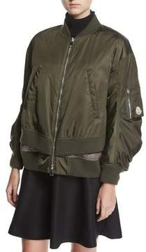 Moncler Aralia Ruched Tiered Bomber Jacket, Green