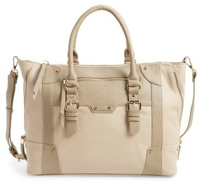 Sole Society 'Susan' Winged Faux Leather Tote - Beige