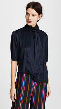 ADAM by Adam Lippes Silk Jersey Blouse with Scarf
