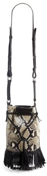 Isabel Marant Askiah Fringed Snake Embossed Leather Crossbody Bag - Beige