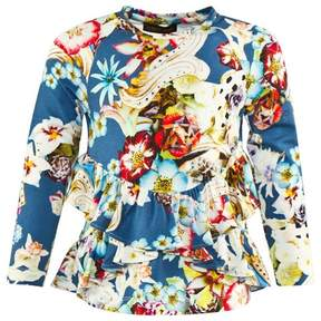 Roberto Cavalli Frilly Floral Printed Tee