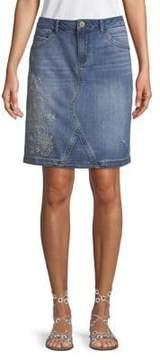 Democracy Embroidered Denim Skirt