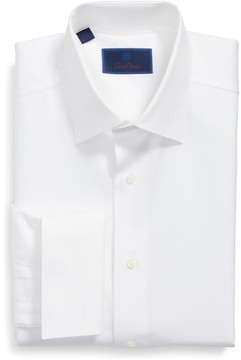 David Donahue Men's Regular Fit Solid French Cuff Tuxedo Shirt