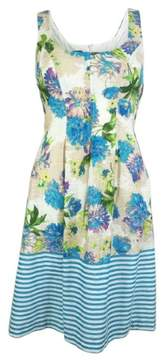 Nine West Women's Floral Stripe Pleated Dress