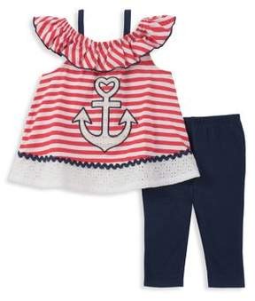 Kids Headquarters Baby Girl's Two-Piece Graphic Tunic and Capri Pants Set