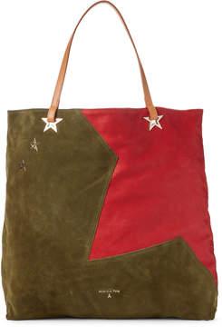 Patrizia Pepe Daily Green & Vivid Red Suede Borsa Bag