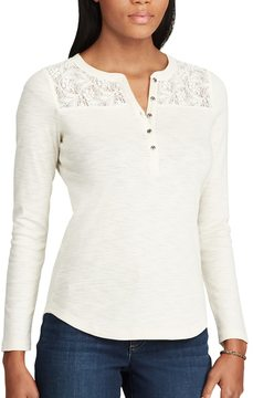 Chaps Women's Lace-Trim Henley Shirt