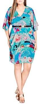 City Chic Graphic Wrap Dress