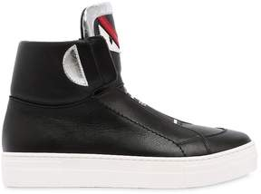 Fendi Monster Nappa Leather High Top Sneakers