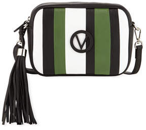 Mario Valentino Valentino By Mia Striped Leather Tassel Shoulder Bag