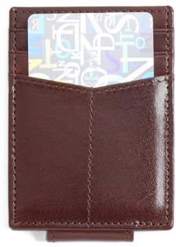 Johnston & Murphy Men's Leather Money Clip Card Case - Burgundy