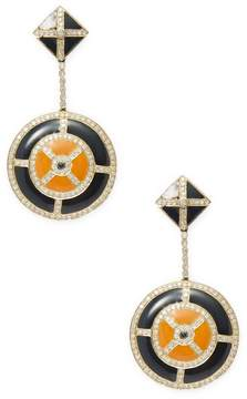 Artisan Women's 18K Gold Enamel & Diamond Earrings