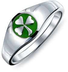 Celtic Bling Jewelry Green Enamel Shamrock Sterling Silver Ring.