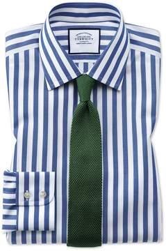 Charles Tyrwhitt Classic Fit Non-Iron Blue Wide Bengal Stripe Cotton Dress Shirt Single Cuff Size 15.5/33