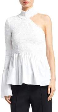 A.L.C. Cossette Asymmetric Fit-&-Flare Smocked Top