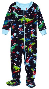 Hatley Infant Boy's Winter Sports T-Rex Organic Cotton Fitted One-Piece Pajamas