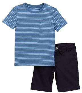 AG Jeans Reversed Washed Stripe Jersey Tee & Shorts Set (Toddler Boys)