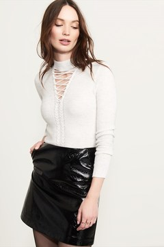 Dynamite Lace-Up Choker Sweater