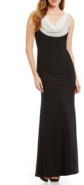 Cachet Caviar Beaded Cowl Neck Gown