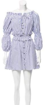 Caroline Constas Striped Peasant Dress