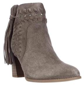 INC International Concepts I35 Jade Studded Fringe Fashion Ankle Boots, Warm Taupe.