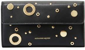 Alexander McQueen Grommet Leather Wallet on a Chain, Black