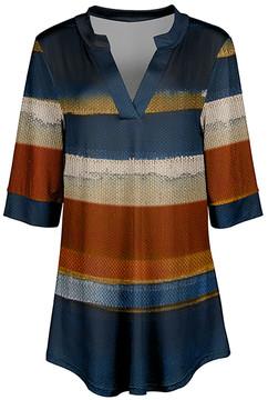 Azalea Blue & Rust Stripe V-Neck Tunic - Women & Plus